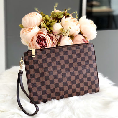 Sophia Brown Checkered Patterned Clutch Bag Front