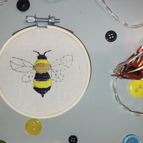 Small Bee Handmade Embroidery Hoop Art