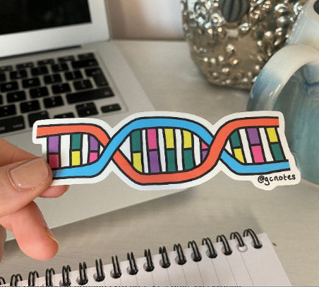 DNA Helix Transparent Sticker
