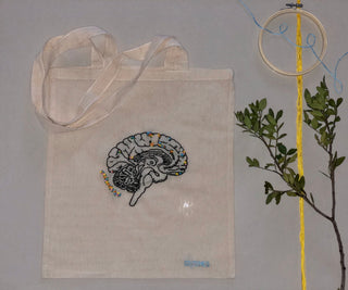 'Flower brain' canvas tote bag