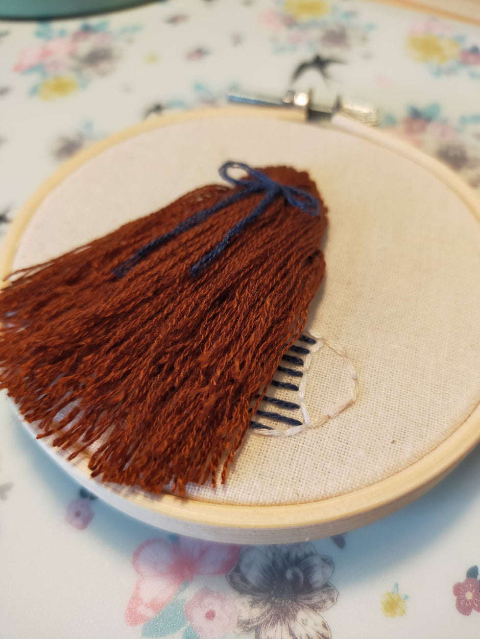 Small Brown Auburn Haired Girl Embroidery Hoop Art