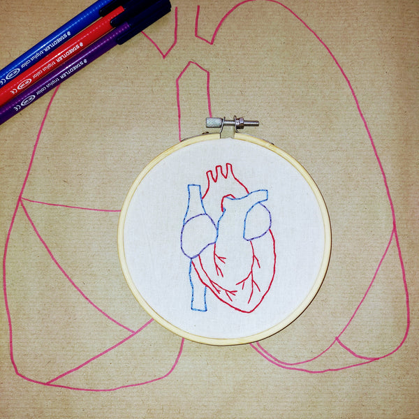 Anatomical Heart Handmade Embroidery Hoop Art