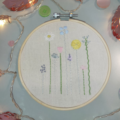 Pastel Flowers Handmade Embroidery Hoop Art