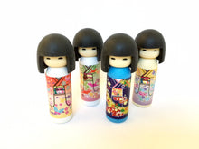 Load image into Gallery viewer, 380042 Iwako BLACK HAIR Kokeshi Japanese Doll Eraser-6 erasers