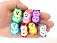 Load image into Gallery viewer, 380062 IWAKO OWL ERASERS-6 COLORS-6 erasers