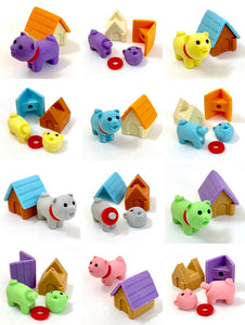 380292 IWAKO DOG HOUSE ERASERS-6 CRAZY COLORS-6 packs of 12 erasers