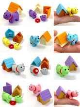 Load image into Gallery viewer, 380292 IWAKO DOG HOUSE ERASERS-6 CRAZY COLORS-6 packs of 12 erasers