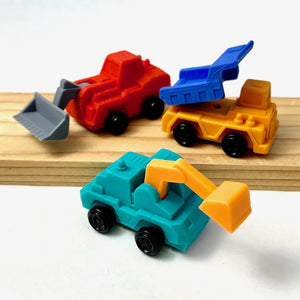 380962 Iwako Construction Trucks Eraser-3 erasers