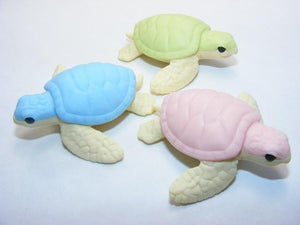 382512 IWAKO TURTLE ERASERS-3 COLORS-3 erasers