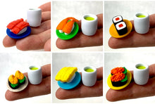 Load image into Gallery viewer, 382625 IWAKO NIGIRI SHRIMP SUSHI PLATE WITH TEA ERASERS-1 SET