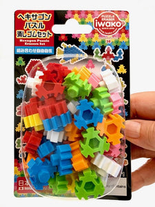 383091 IWAKO HEXAGON PUZZLE ERASER CARDS-1 CARD