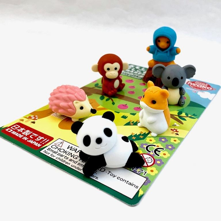 383491 IWAKO KAWAII ANIMAL ERASER CARD-1 CARD