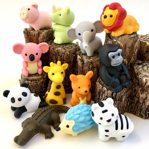 383601 IWAKO ANIMAL TRIPLE ERASERS-1 bag of 3 erasers