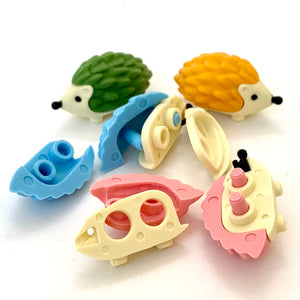 380486 IWAKO HEDGEHOG ERASERS-YELLOW-1 eraser