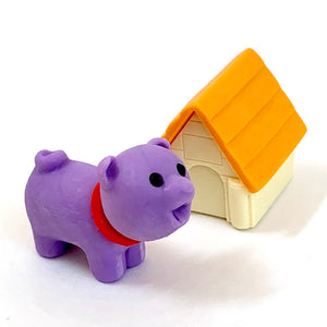 380293 IWAKO DOG HOUSE ERASERS-PURPLE DOG-1 packs of 2 erasers