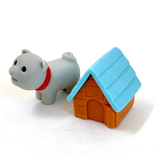 380296 IWAKO DOG HOUSE ERASERS-GREY DOG-1 packs of 2 erasers