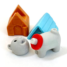 Load image into Gallery viewer, 380296 IWAKO DOG HOUSE ERASERS-GREY DOG-1 packs of 2 erasers
