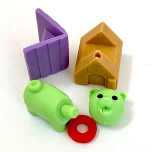 380297 IWAKO DOG HOUSE ERASERS-GREEN DOG-1 packs of 2 erasers