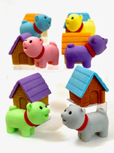 Load image into Gallery viewer, 380297 IWAKO DOG HOUSE ERASERS-GREEN DOG-1 packs of 2 erasers