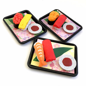 383691 IWAKO SUSHI TRIPLE ERASERS-1 bag of 3 erasers