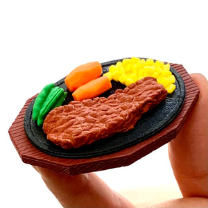 383641 IWAKO STEAK DINNER RESTAURANT TRIPLE IWAKO PUZZLE ERASERS-1 bag of 3 erasers