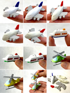 381362 IWAKO AIRPLANE, HELICOPTER & CRUISE SHIP ERASERS-6 erasers