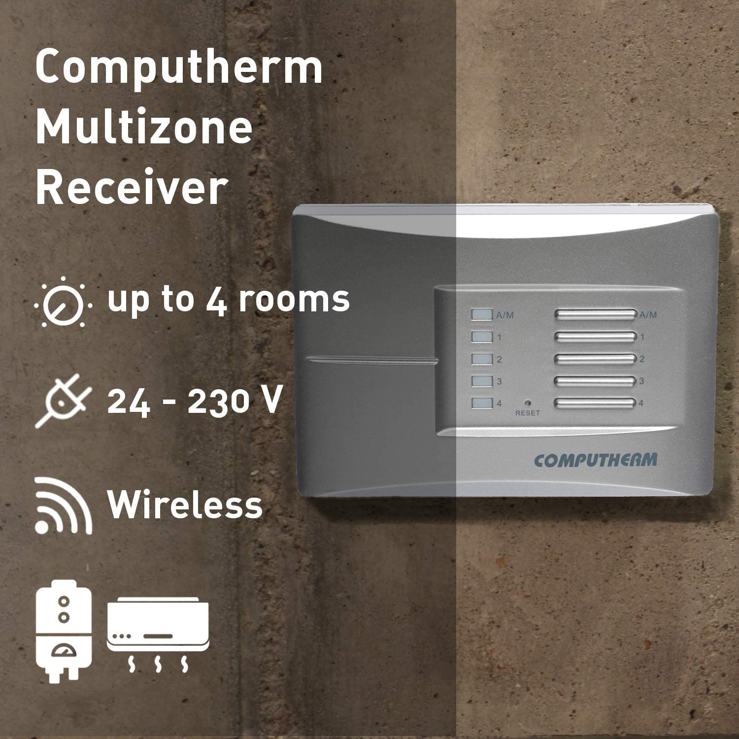 COMPUTHERM Q8RF - multi-zone, wireless (radio frequency), programmable, digital room thermostat