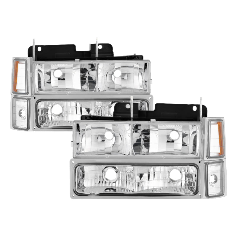 Xtune Chevy Suburban 94-98 Headlights w/ Corner & Parking Lights 8pcs Chrome HD-JH-CCK88-AM-C-SET
