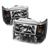 Xtune Jeep Grand Cherokee 93-98 1Pc Crystal Headlights Black HD-ON-JGC93-1PC-LED-BK