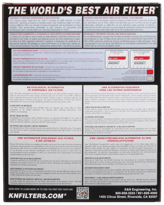 K&N 2017 Honda CR-V 2.0L Drop In Air Filter