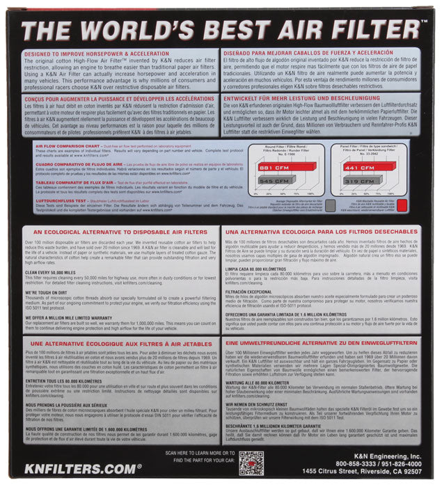 K&N Replacement Air Filter MERCEDES S600; 2001-2002