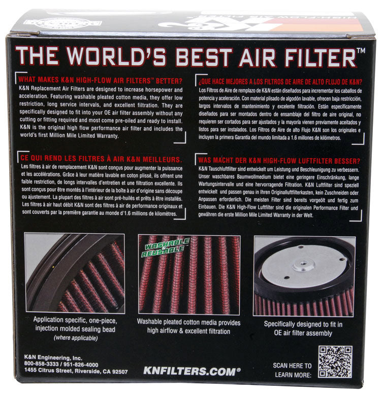 K&N Replacement Air Filter 4.5in x 6.15in x 4in x 3in x 3.25in H for Harley Davidson