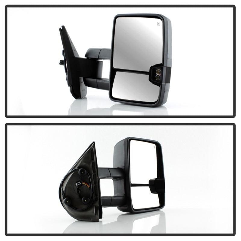 xTune Chevy Silverado 07-13 Heated Smoke LED Signal Telescoping Mirrors MIR-CSIL07S-G2-PWH-SM-SET