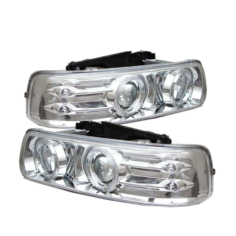 Spyder Chevy Silverado 1500/2500 99-02Projector Headlights LED Halo LED Chrome PRO-YD-CS99-HL-C