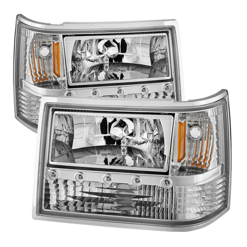 Xtune Jeep Grand Cherokee 93-98 1Pc Crystal Headlights Chrome HD-ON-JGC93-1PC-LED-C