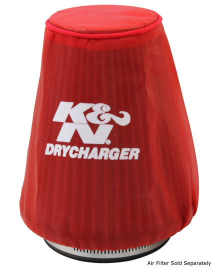 K&N Red Drycharger 5.25in x 3in Round Tapered Air Filter Wrap