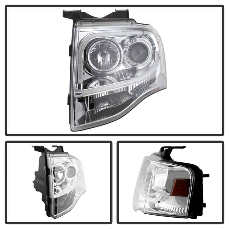 Spyder Ford Expedition 07-13 Projector Headlights Light Tube DRL Chrm PRO-YD-FE07-LTDRL-C