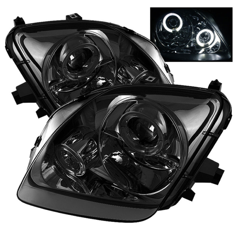 Spyder Honda Prelude 97-01 Projector Headlights LED Halo Smoke High H1 Low H1 PRO-YD-HP97-HL-SM