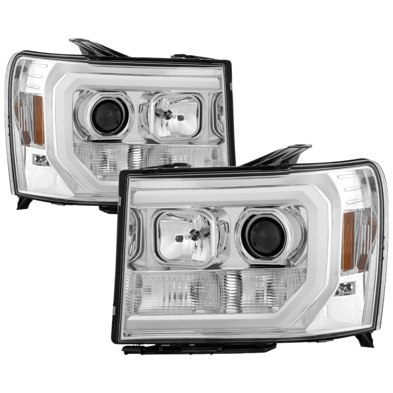 Spyder GMC Sierra 1500/2500/3500 07-13 V2 Projector Headlights - Chrome PRO-YD-GS07V2-LBDRL-C