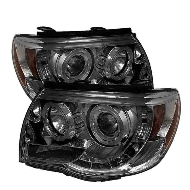 Spyder Toyota Tacoma 05-11 Projector Headlights LED Halo LED Smoke High H1 Low H1 PRO-YD-TT05-HL-SM