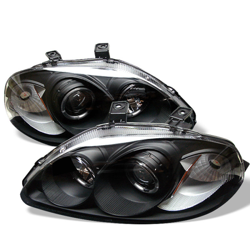 Spyder Honda Civic 96-98 Projector Headlights LED Halo Amber Reflctr Blk PRO-YD-HC96-AM-BK