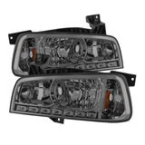 Xtune Dodge Charger 06-10 1Pc LED Crystal Headlights Smoke HD-ON-DCH05-1PC-LED-SM