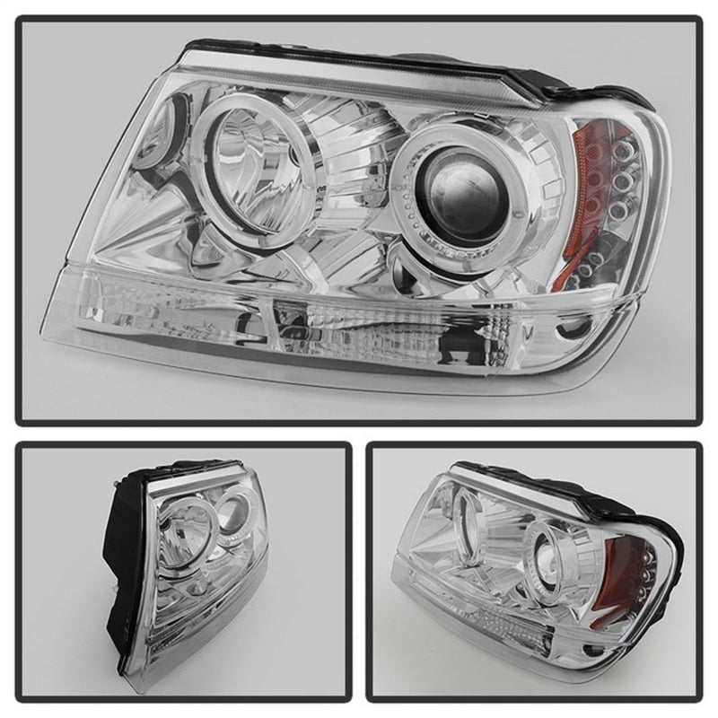 Spyder Jeep Grand Cherokee 99-04 Projector Headlights LED Halo LED Chrm - PRO-YD-JGC99-HL-C