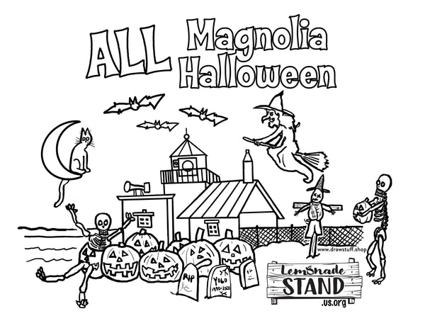 a coloring page of magnolia discovery park lighthouse with halloween decorations