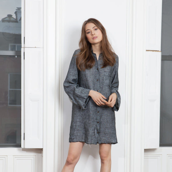 Delon Shirt Dress - Grey