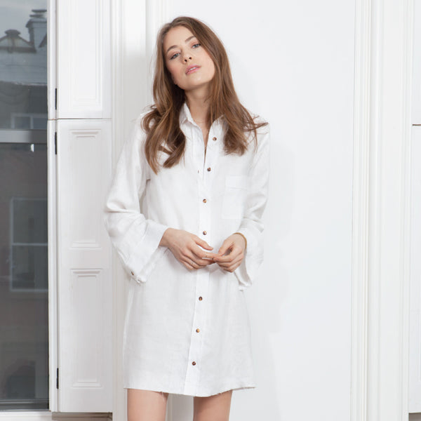 Delon Shirt Dress - White