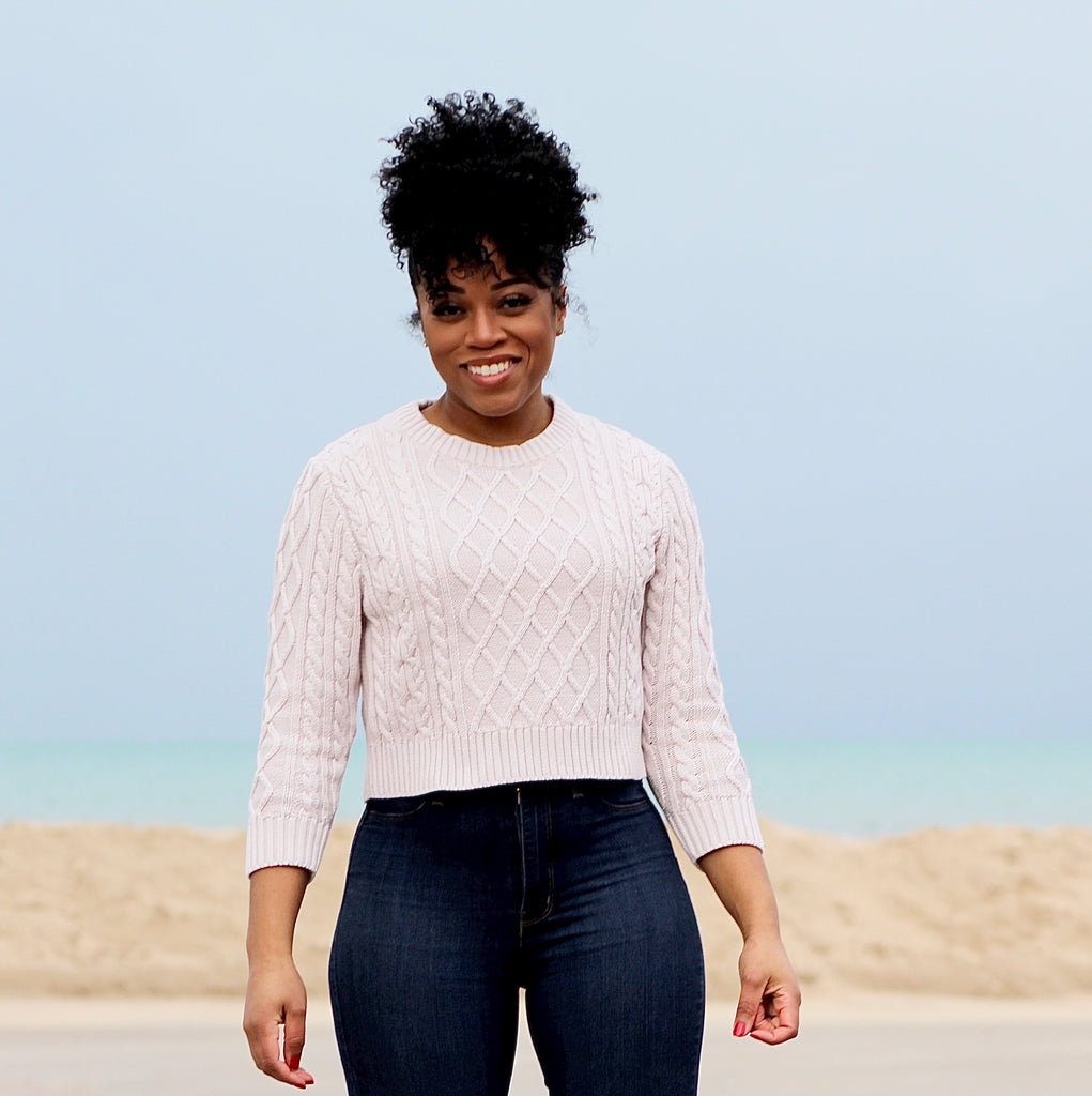 Baby Pink Cable Crop-Top Sweater