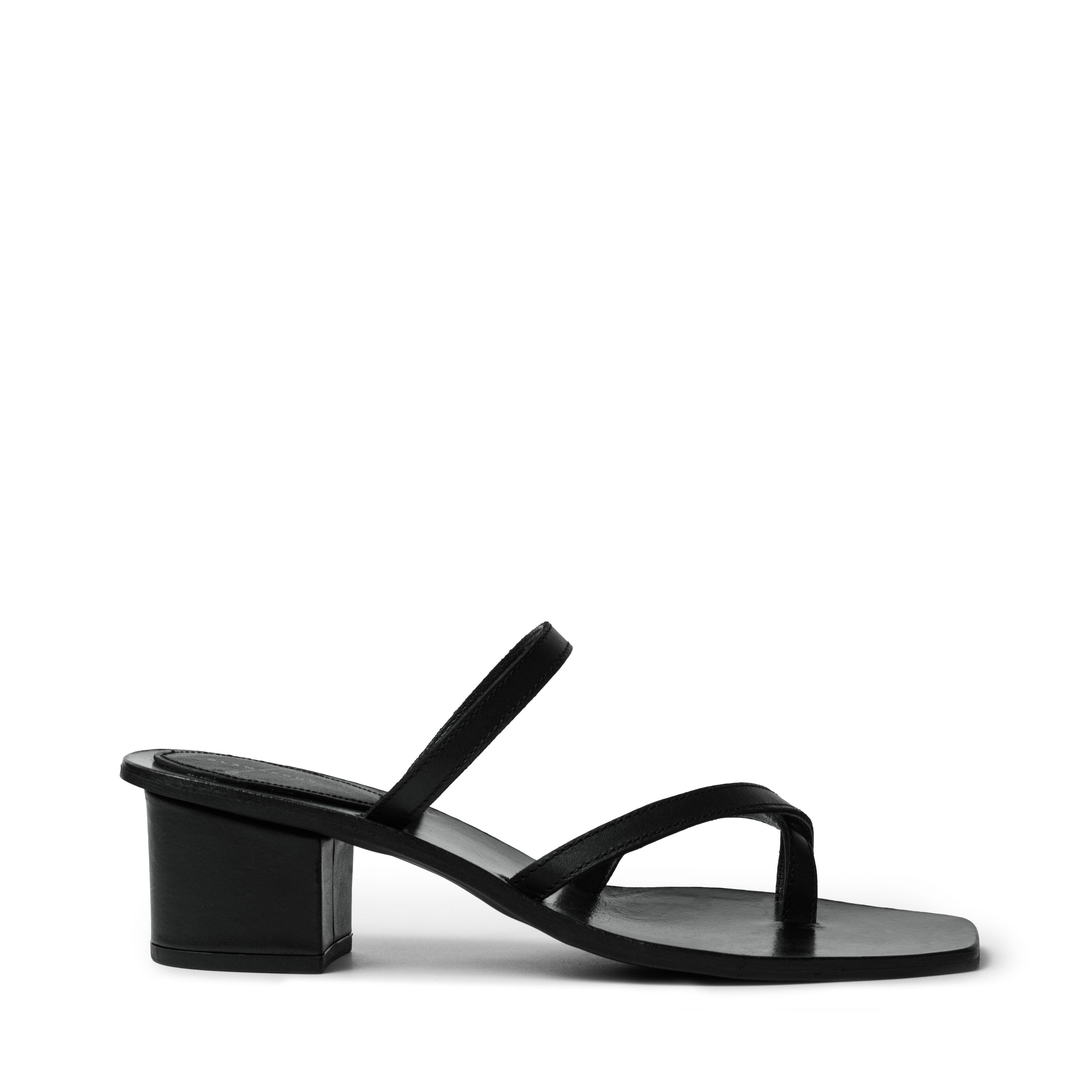 DALIA BLACK LEATHER MULE GLAMAZONS