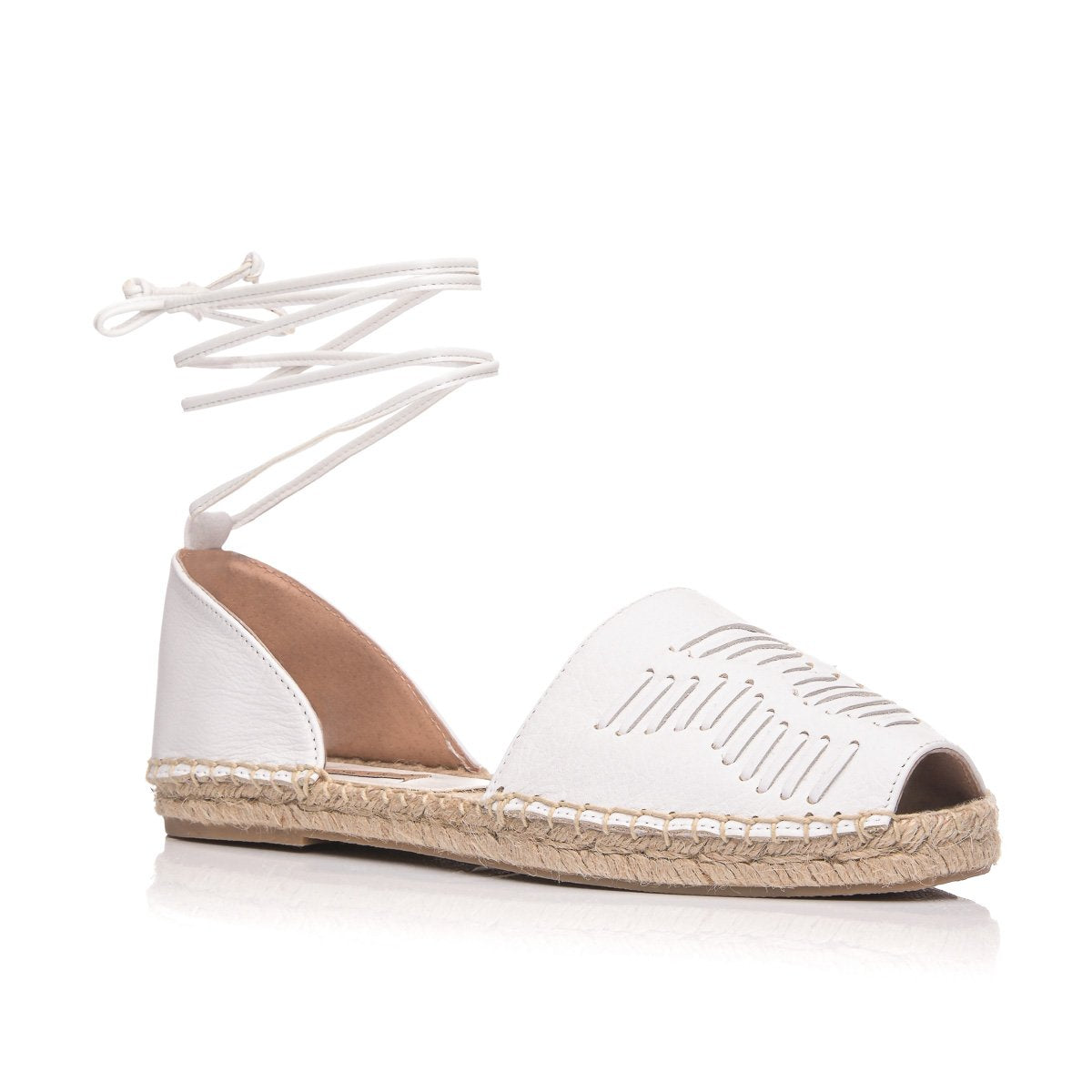 CLARA DURAN ESPADRILLES WHITE LEATHER