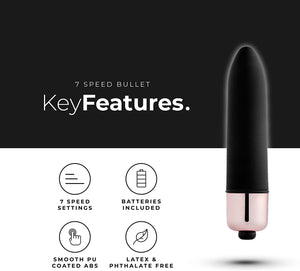 PleasureHub VIBRATING BULLET 7 SPEED (Black)
